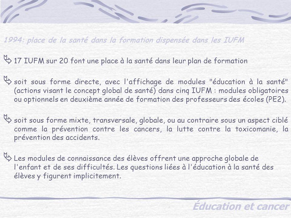 Éducation et cancer 1994: place de la santé dans la formation dispensée dans les IUFM 17 IUFM sur 20 font une place à la santé dans leur plan de formation soit sous forme directe, avec l affichage de modules éducation à la santé (actions visant le concept global de santé) dans cinq IUFM : modules obligatoires ou optionnels en deuxième année de formation des professeurs des écoles (PE2).