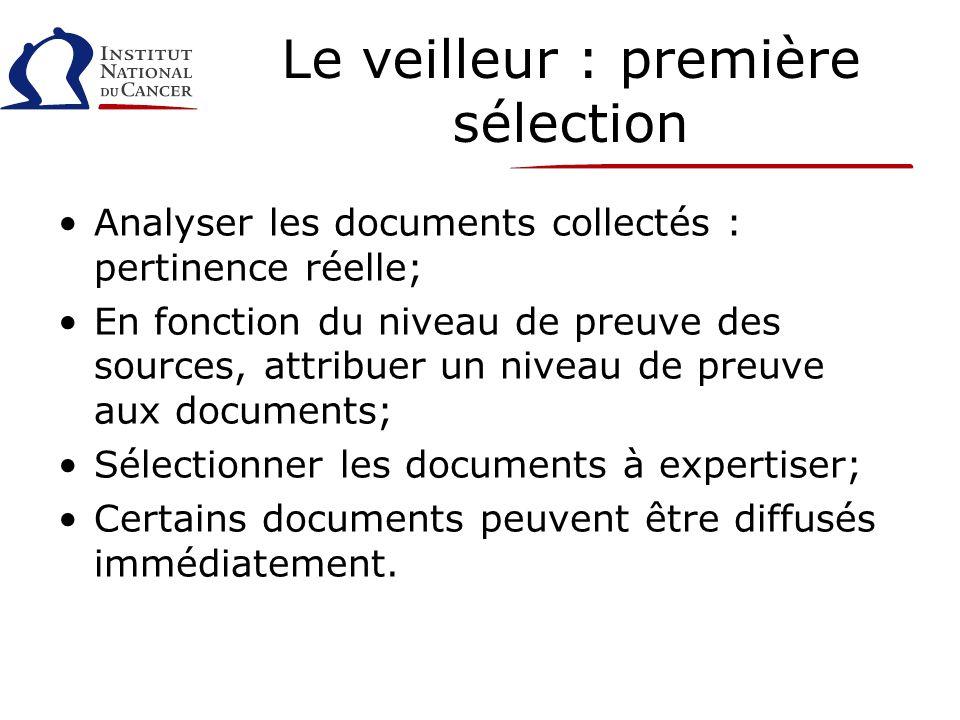 Le veilleur : première sélection Analyser les documents collectés : pertinence réelle; En fonction du niveau de preuve des sources, attribuer un niveau de preuve aux documents; Sélectionner les documents à expertiser; Certains documents peuvent être diffusés immédiatement.