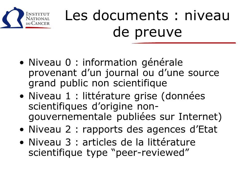 Les documents : niveau de preuve Niveau 0 : information générale provenant dun journal ou dune source grand public non scientifique Niveau 1 : littéra