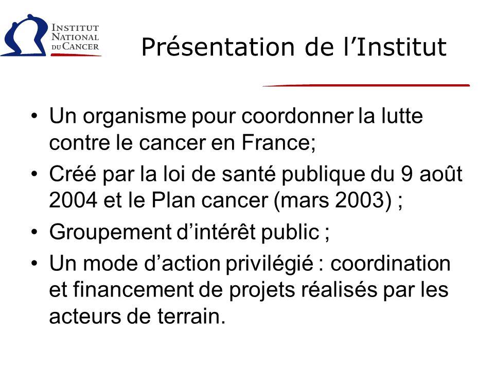 Présentation de lInstitut Un organisme pour coordonner la lutte contre le cancer en France; Créé par la loi de santé publique du 9 août 2004 et le Pla