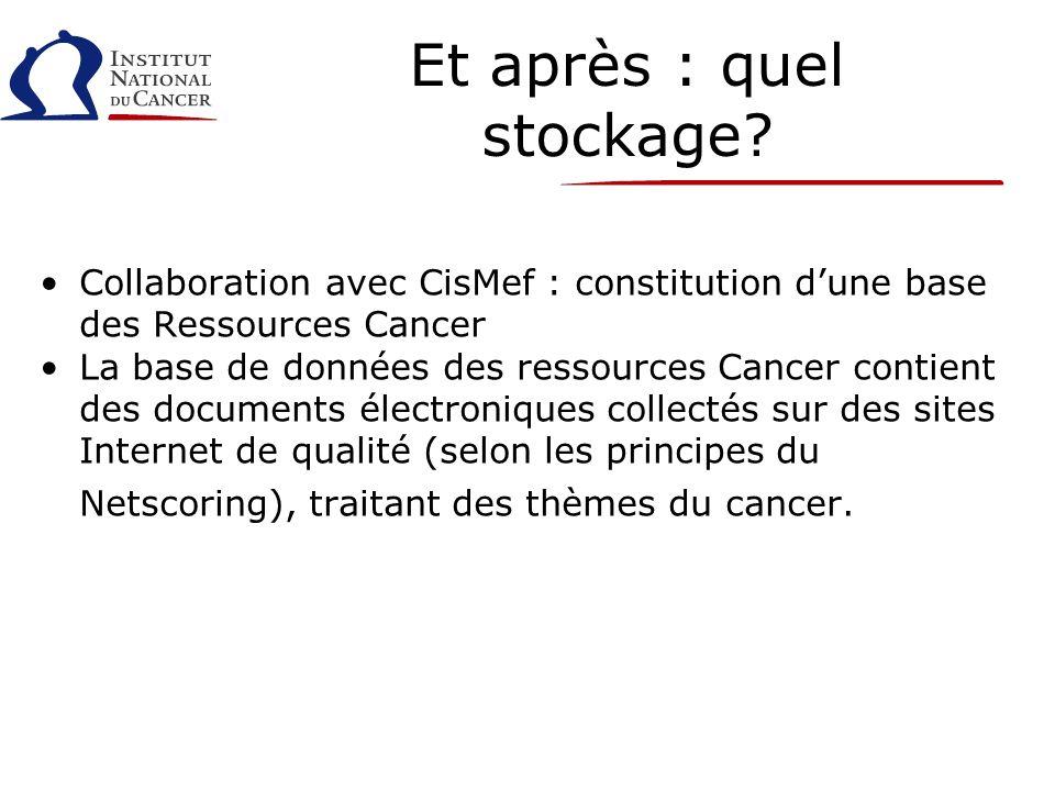 Et après : quel stockage? Collaboration avec CisMef : constitution dune base des Ressources Cancer La base de données des ressources Cancer contient d