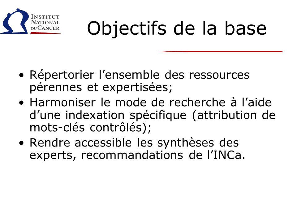 Objectifs de la base Répertorier lensemble des ressources pérennes et expertisées; Harmoniser le mode de recherche à laide dune indexation spécifique (attribution de mots-clés contrôlés); Rendre accessible les synthèses des experts, recommandations de lINCa.