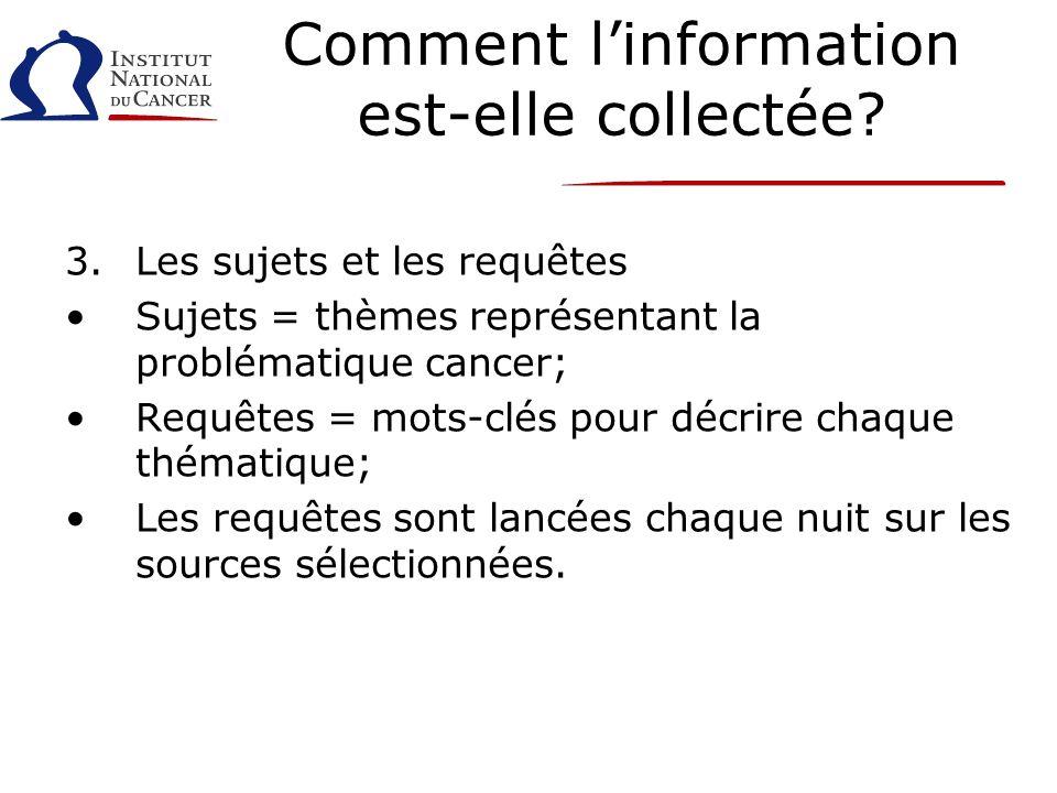 Comment linformation est-elle collectée? 3.Les sujets et les requêtes Sujets = thèmes représentant la problématique cancer; Requêtes = mots-clés pour