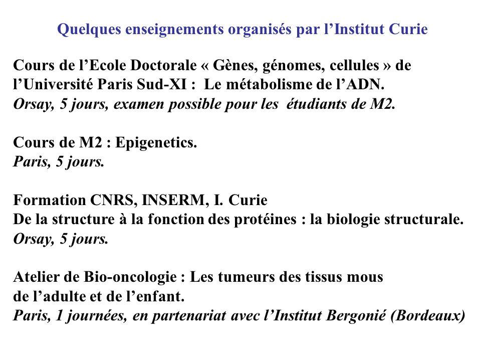 Quelques enseignements organisés par lInstitut Curie Cours de lEcole Doctorale « Gènes, génomes, cellules » de lUniversité Paris Sud-XI : Le métabolis