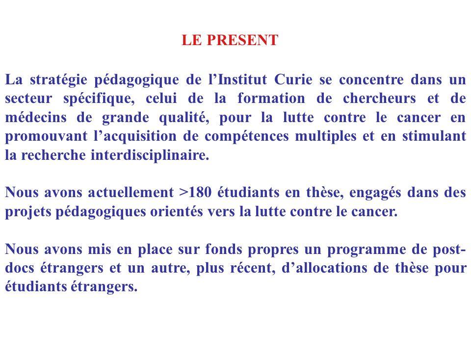 La stratégie pédagogique de lInstitut Curie se concentre dans un secteur spécifique, celui de la formation de chercheurs et de médecins de grande qual