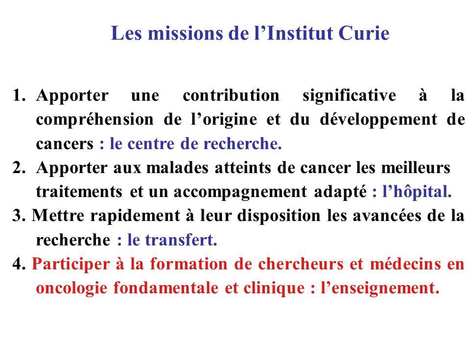 Nous allons répondre aux demandes des Universités parisiennes par la mise en place dun parcours doctoral en Oncogenèse et Développement, en partenariat avec lUniversité Paris VI, et dun parcours doctoral pour médecins oncologues, en partenariat avec lUniversité Paris V.