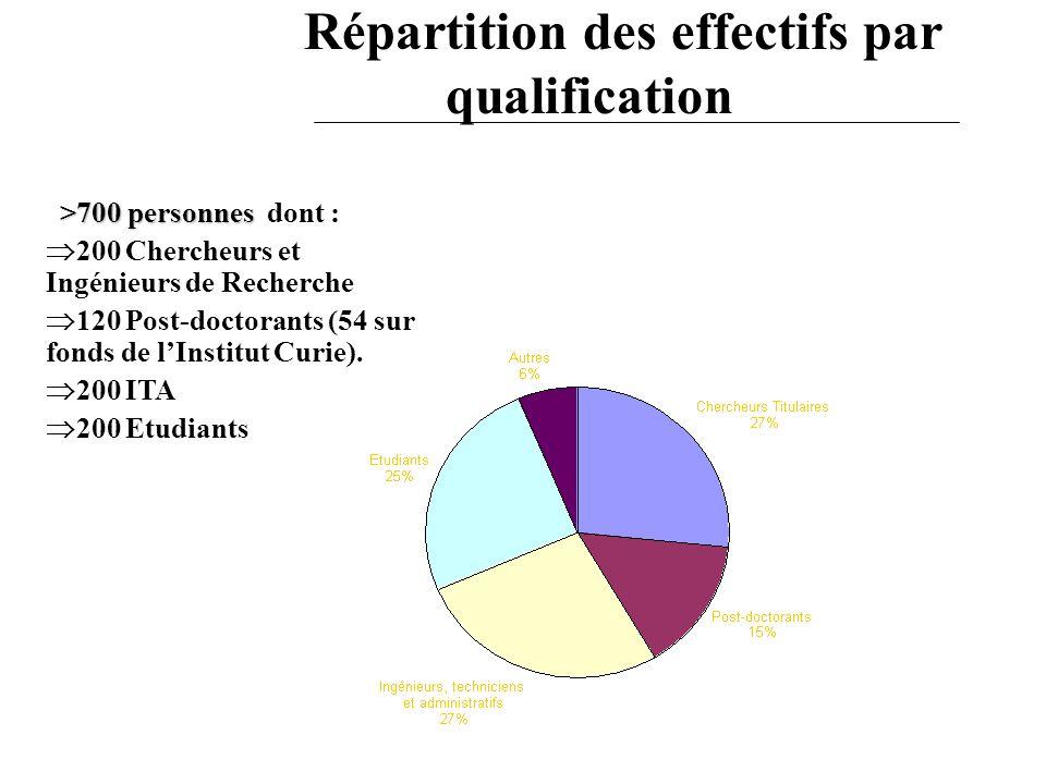 Répartition des effectifs par qualification >700 personnes >700 personnes dont : 200 Chercheurs et Ingénieurs de Recherche 120 Post-doctorants (54 sur