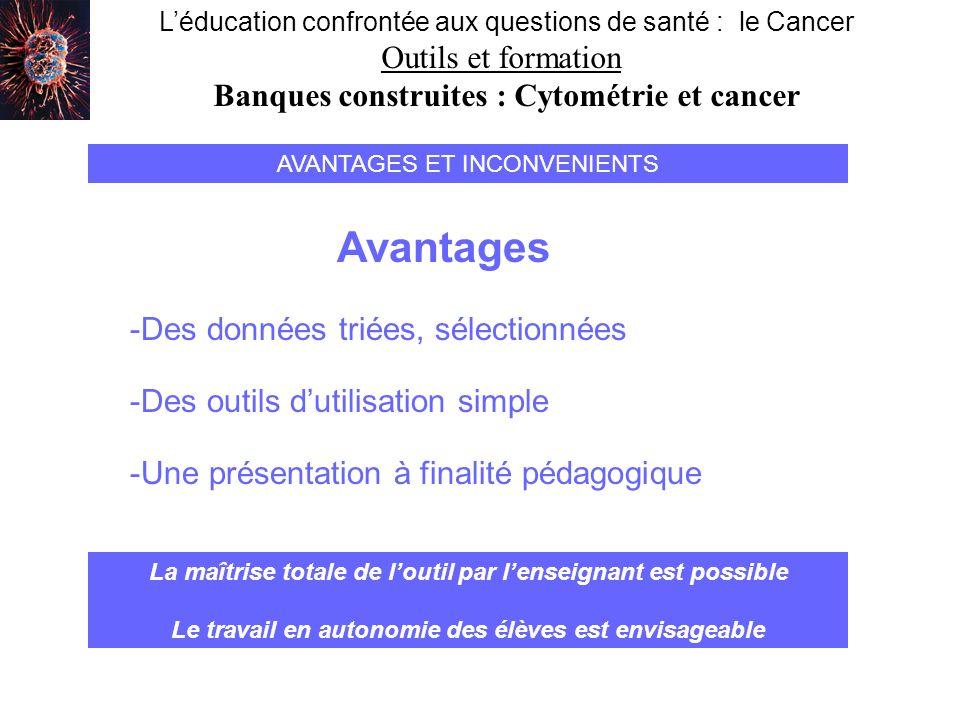Léducation confrontée aux questions de santé : le Cancer Outils et formation Banques construites : Cytométrie et cancer AVANTAGES ET INCONVENIENTS Ava