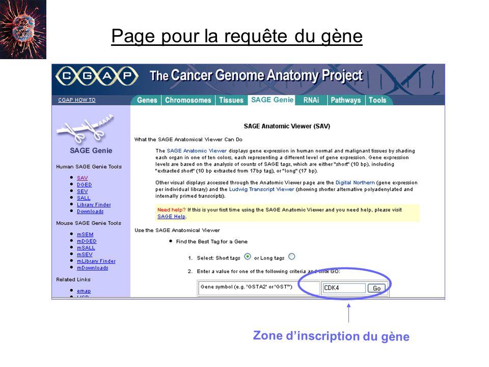 Page pour la requête du gène Zone dinscription du gène