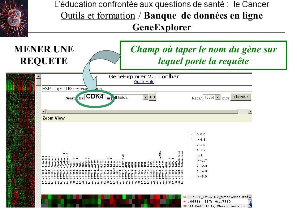 Léducation confrontée aux questions de santé : le Cancer Outils et formation / Banque de données en ligne GeneExplorer Champ où taper le nom du gène s