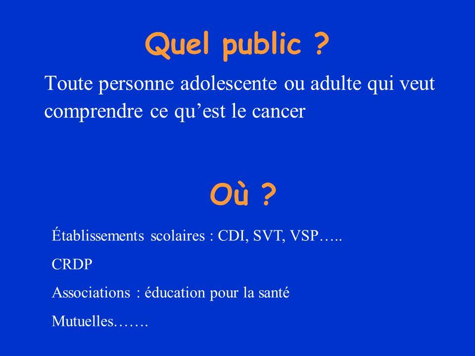 Quel public ? Toute personne adolescente ou adulte qui veut comprendre ce quest le cancer Où ? Établissements scolaires : CDI, SVT, VSP….. CRDP Associ