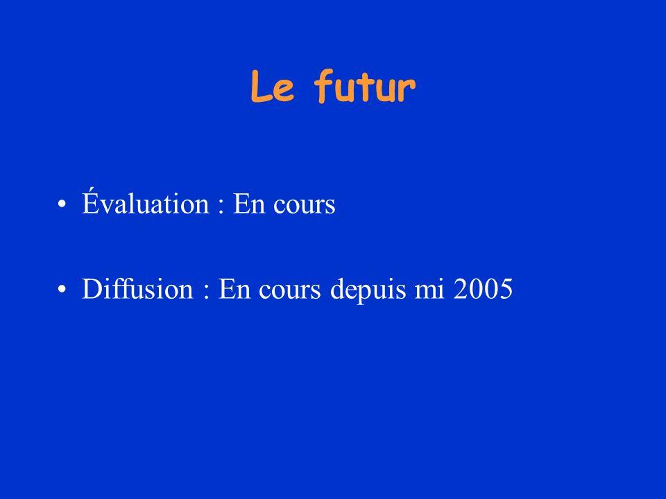 Le futur Évaluation : En cours Diffusion : En cours depuis mi 2005