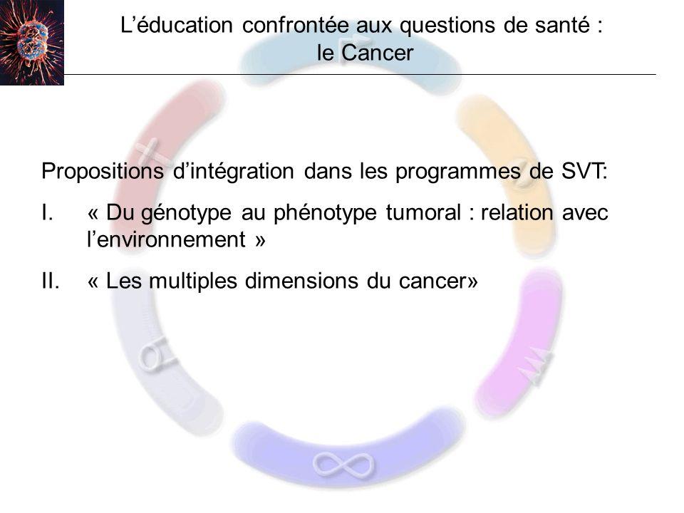 Léducation confrontée aux questions de santé : le Cancer Propositions dintégration dans les programmes de SVT: I.« Du génotype au phénotype tumoral : relation avec lenvironnement » II.« Les multiples dimensions du cancer»