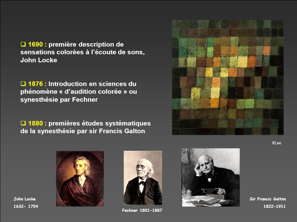 KLee Sir Francis Galton 1822-1911 Fechner 1801-1887 John Locke 1632- 1704 1690 : première description de sensations colorées à lécoute de sons, John L