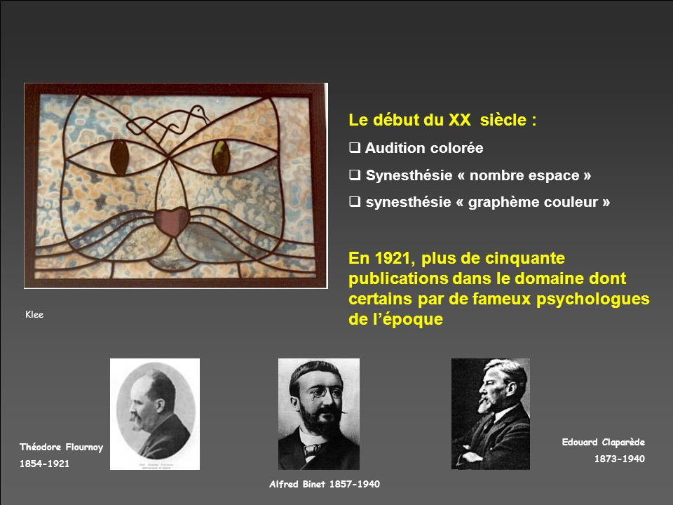 Klee Le début du XX siècle : Audition colorée Synesthésie « nombre espace » synesthésie « graphème couleur » En 1921, plus de cinquante publications d