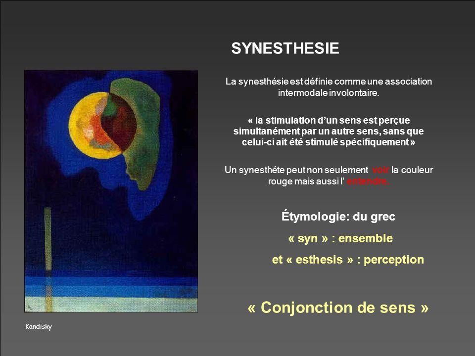 Kandisky SYNESTHESIE La synesthésie est définie comme une association intermodale involontaire. « la stimulation dun sens est perçue simultanément par