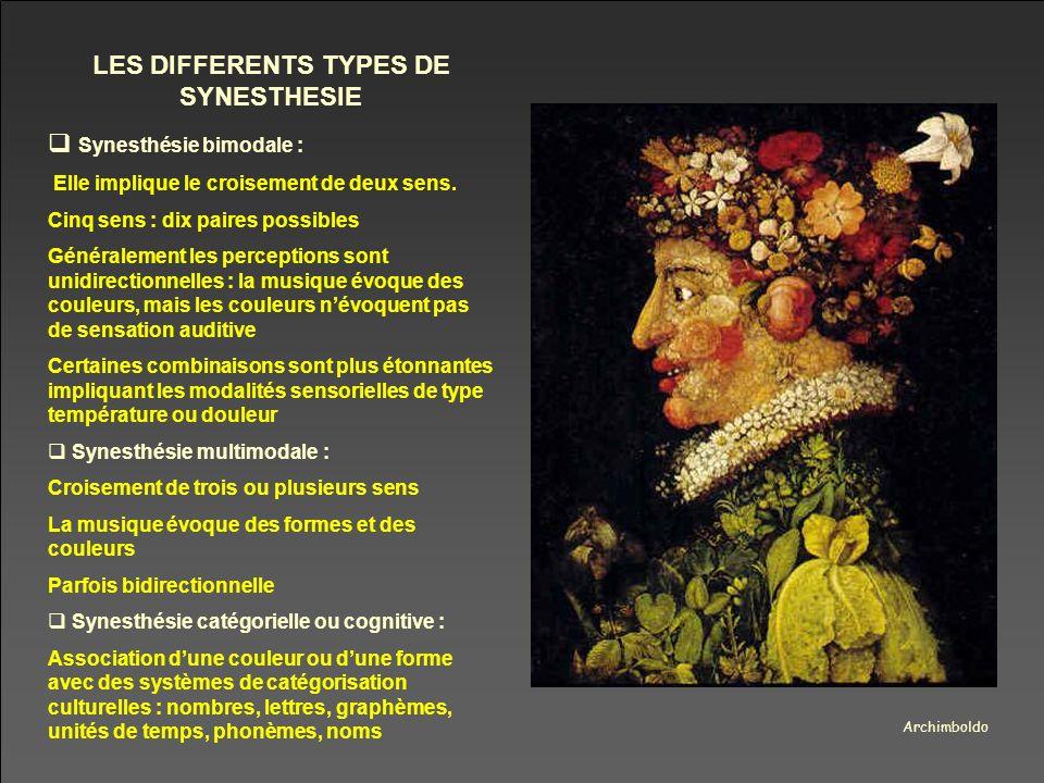 Archimboldo LES DIFFERENTS TYPES DE SYNESTHESIE Synesthésie bimodale : Elle implique le croisement de deux sens. Cinq sens : dix paires possibles Géné