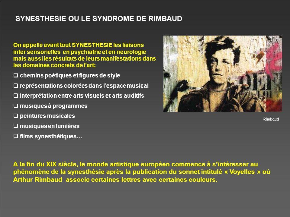 SYNESTHESIE OU LE SYNDROME DE RIMBAUD On appelle avant tout SYNESTHESIE les liaisons inter sensorielles en psychiatrie et en neurologie mais aussi les