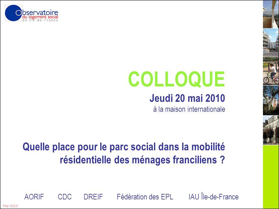 2 Deuxième table ronde : Lévolution de la dépense logement et des taux deffort Mai 2010