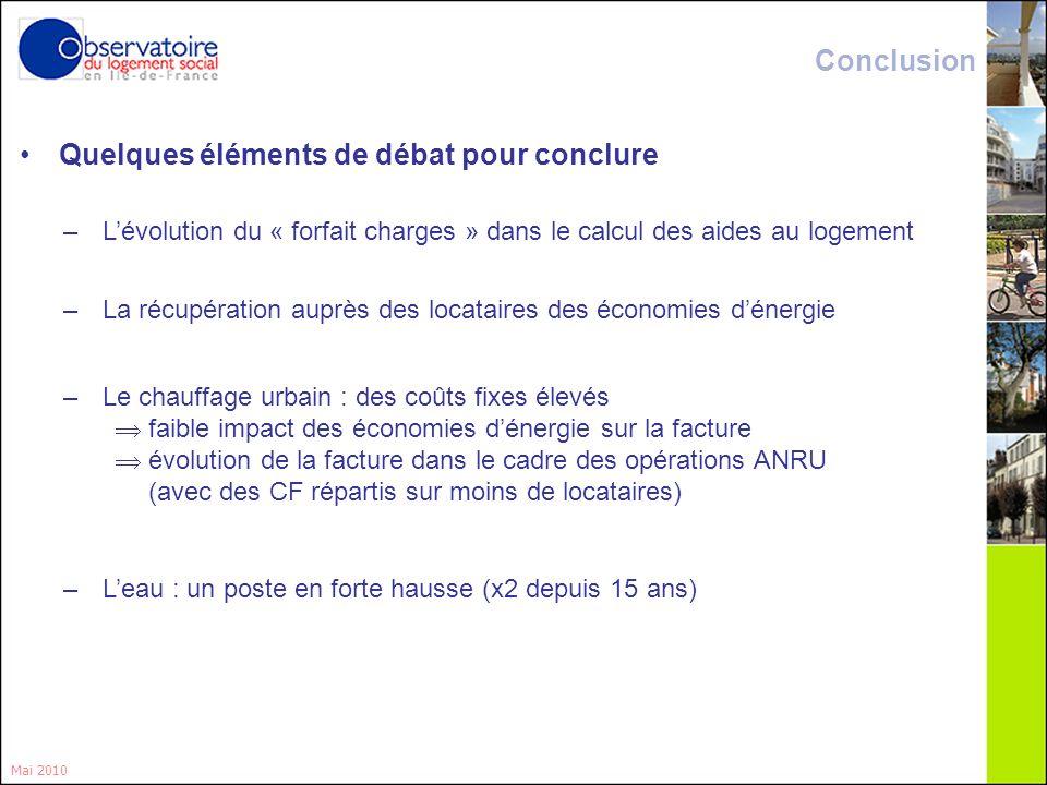 19 Quelques éléments de débat pour conclure Mai 2010 –Lévolution du « forfait charges » dans le calcul des aides au logement –La récupération auprès d