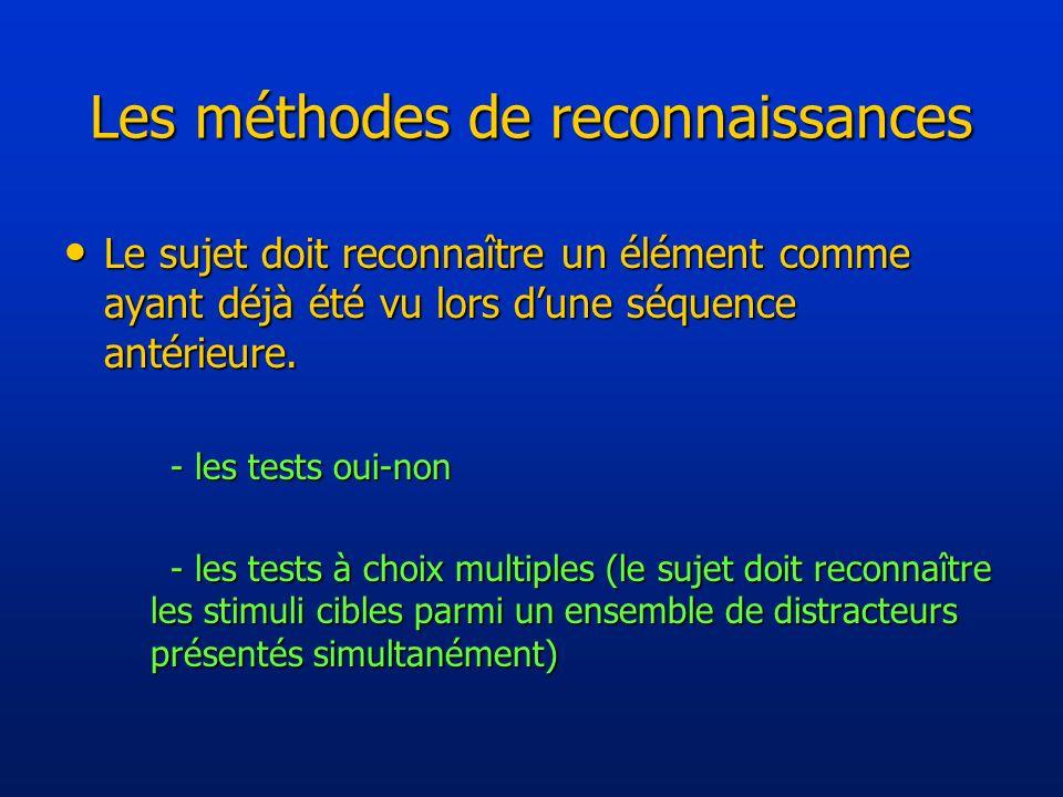 Les méthodes de reconnaissances Le sujet doit reconnaître un élément comme ayant déjà été vu lors dune séquence antérieure.