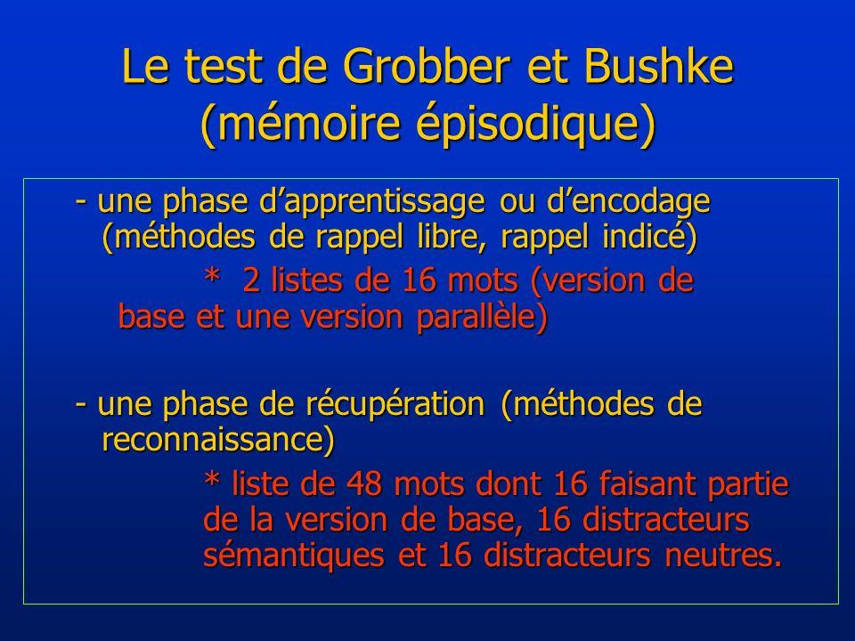 Le test de Grobber et Bushke (mémoire épisodique) - une phase dapprentissage ou dencodage (méthodes de rappel libre, rappel indicé) * 2 listes de 16 mots (version de base et une version parallèle) - une phase de récupération (méthodes de reconnaissance) * liste de 48 mots dont 16 faisant partie de la version de base, 16 distracteurs sémantiques et 16 distracteurs neutres.
