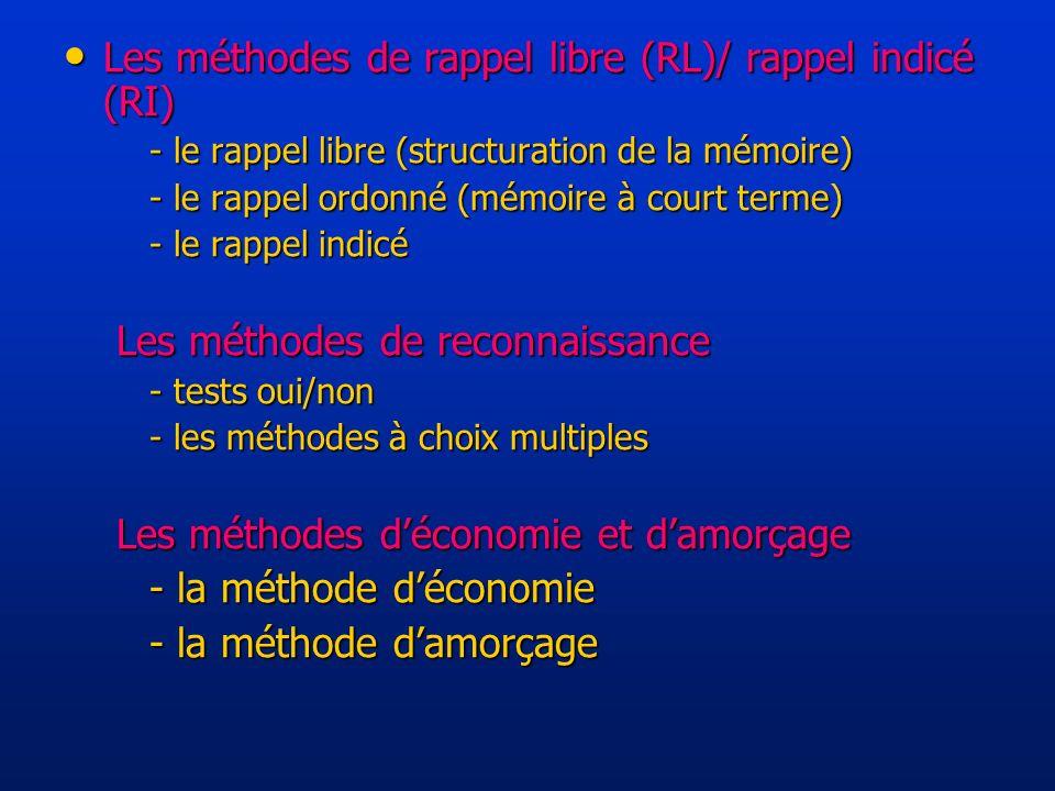 Les méthodes de rappel libre (RL)/ rappel indicé (RI) Les méthodes de rappel libre (RL)/ rappel indicé (RI) - le rappel libre (structuration de la mémoire) - le rappel ordonné (mémoire à court terme) - le rappel indicé Les méthodes de reconnaissance - tests oui/non - les méthodes à choix multiples Les méthodes déconomie et damorçage - la méthode déconomie - la méthode damorçage