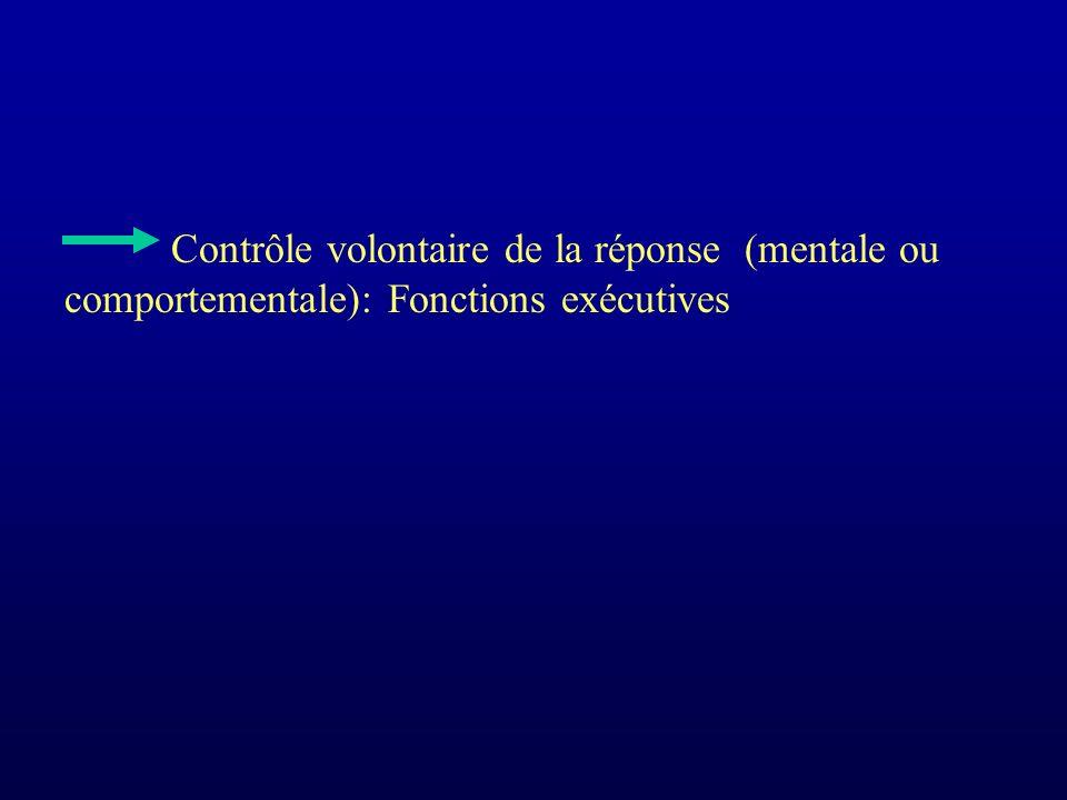 Contrôle volontaire de la réponse (mentale ou comportementale): Fonctions exécutives