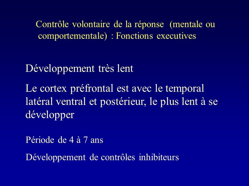 Contrôle volontaire de la réponse (mentale ou comportementale) : Fonctions executives Développement très lent Le cortex préfrontal est avec le temporal latéral ventral et postérieur, le plus lent à se développer Période de 4 à 7 ans Développement de contrôles inhibiteurs