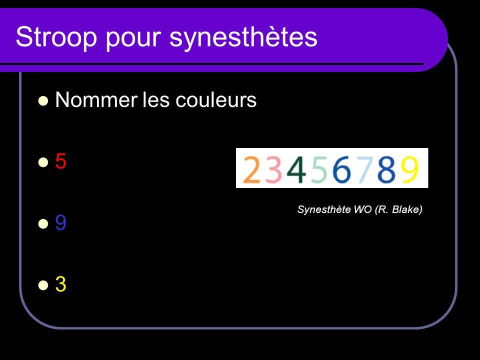 Stroop pour synesthètes Nommer les couleurs 5 9 3 Synesthète WO (R. Blake)