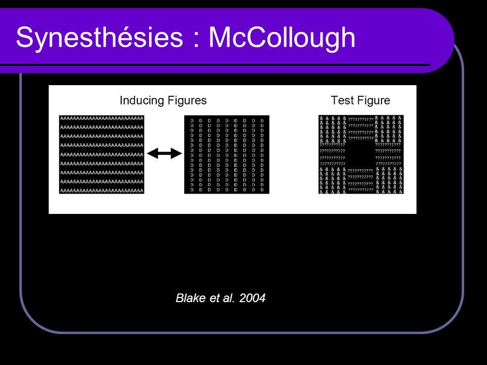 Synesthésies : McCollough Blake et al. 2004