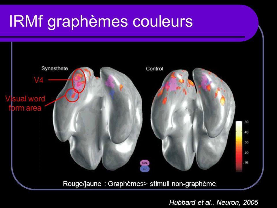 IRMf graphèmes couleurs Hubbard et al., Neuron, 2005 Rouge/jaune : Graphèmes> stimuli non-graphème V4 Visual word form area