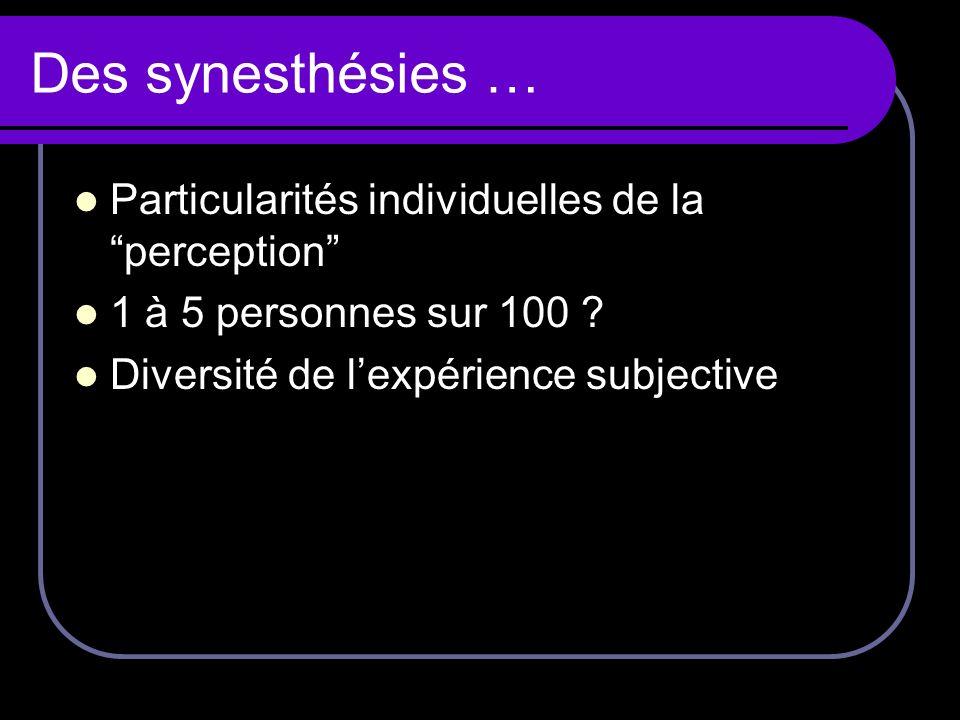 Définition : expérience supplémentaire Synesthésie lorsque : une stimulation perceptive, émotionnelle ou imaginaire évoque une expérience sensorielle, représentationnelle, cognitive ou affective - additionnelle - arbitraire - idiosyncrasique - automatique