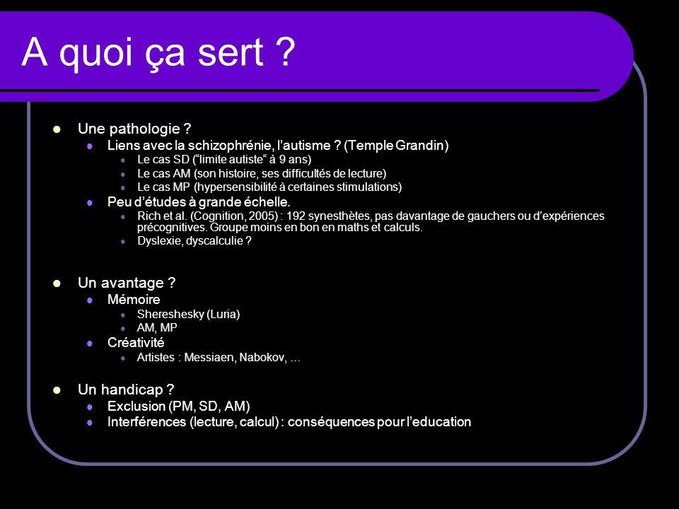 A quoi ça sert ? Une pathologie ? Liens avec la schizophrénie, lautisme ? (Temple Grandin) Le cas SD (limite autiste à 9 ans) Le cas AM (son histoire,
