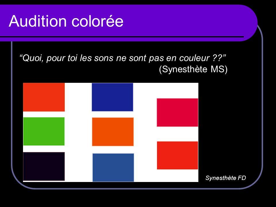 Audition colorée Synesthète FD Quoi, pour toi les sons ne sont pas en couleur ?? (Synesthète MS)