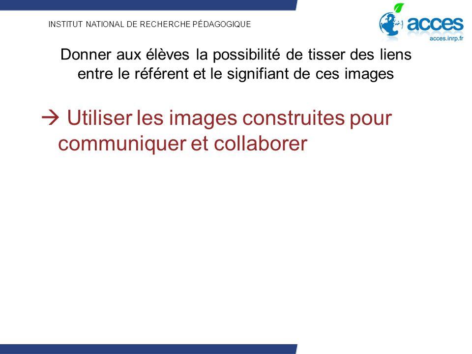 INSTITUT NATIONAL DE RECHERCHE PÉDAGOGIQUE Donner aux élèves la possibilité de tisser des liens entre le référent et le signifiant de ces images Utiliser les images construites pour communiquer et collaborer