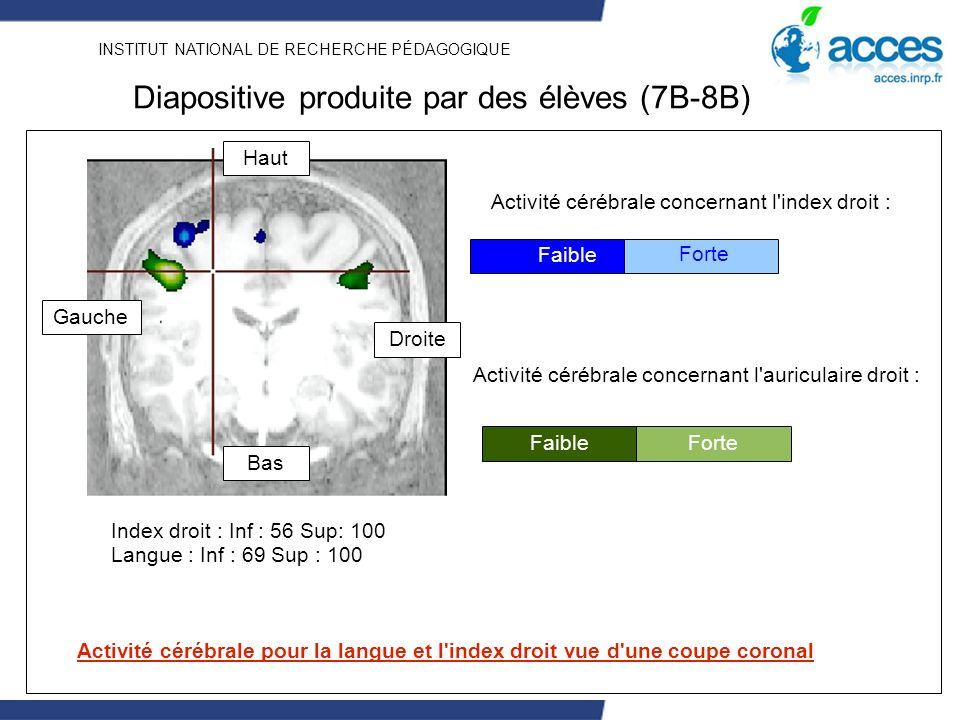 INSTITUT NATIONAL DE RECHERCHE PÉDAGOGIQUE Activité cérébrale concernant l'index droit : Faible Forte Faible Activité cérébrale concernant l'auriculai