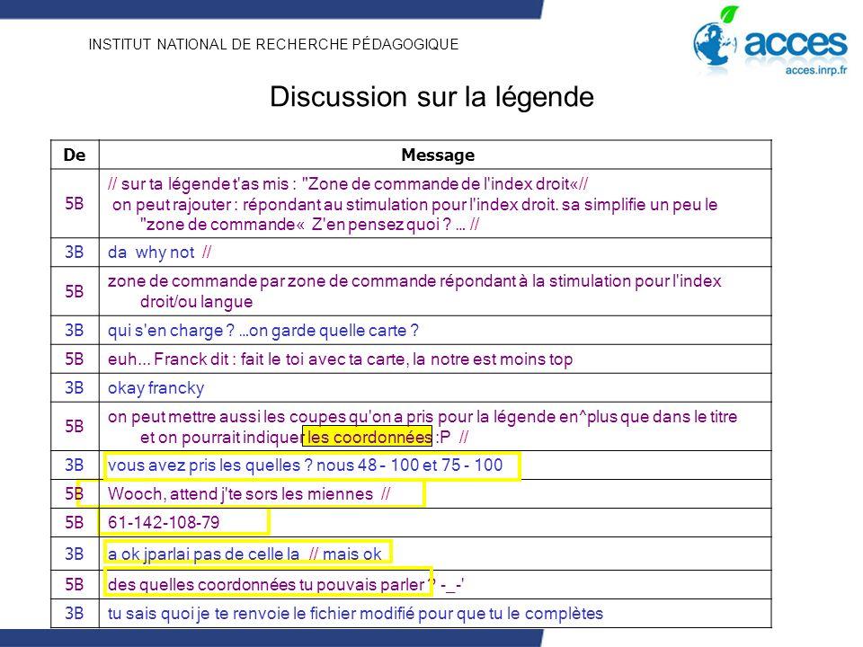INSTITUT NATIONAL DE RECHERCHE PÉDAGOGIQUE De Message 5B // sur ta légende t'as mis :