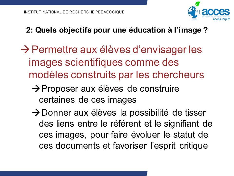 INSTITUT NATIONAL DE RECHERCHE PÉDAGOGIQUE 2: Quels objectifs pour une éducation à limage ? Permettre aux élèves denvisager les images scientifiques c