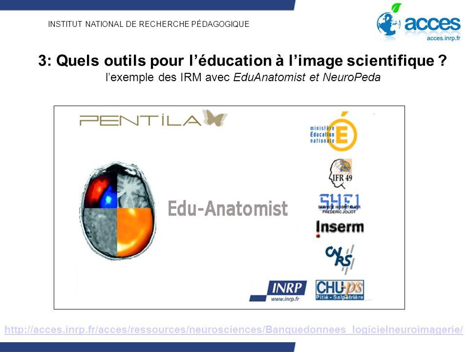 INSTITUT NATIONAL DE RECHERCHE PÉDAGOGIQUE 3: Quels outils pour léducation à limage scientifique ? lexemple des IRM avec EduAnatomist et NeuroPeda htt