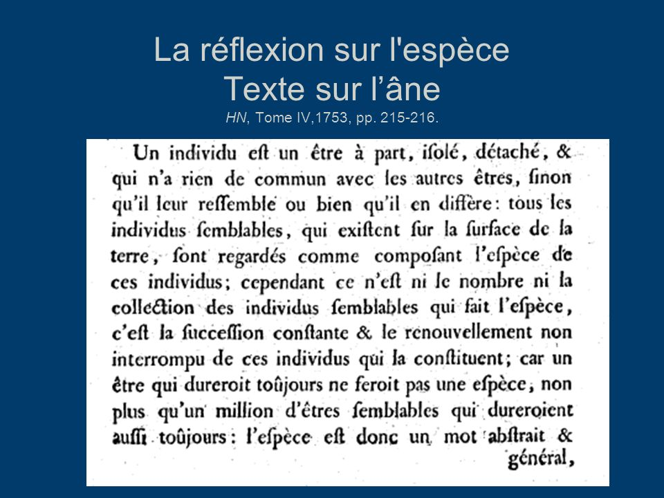 La réflexion sur l'espèce Texte sur lâne HN, Tome IV,1753, pp. 215-216.