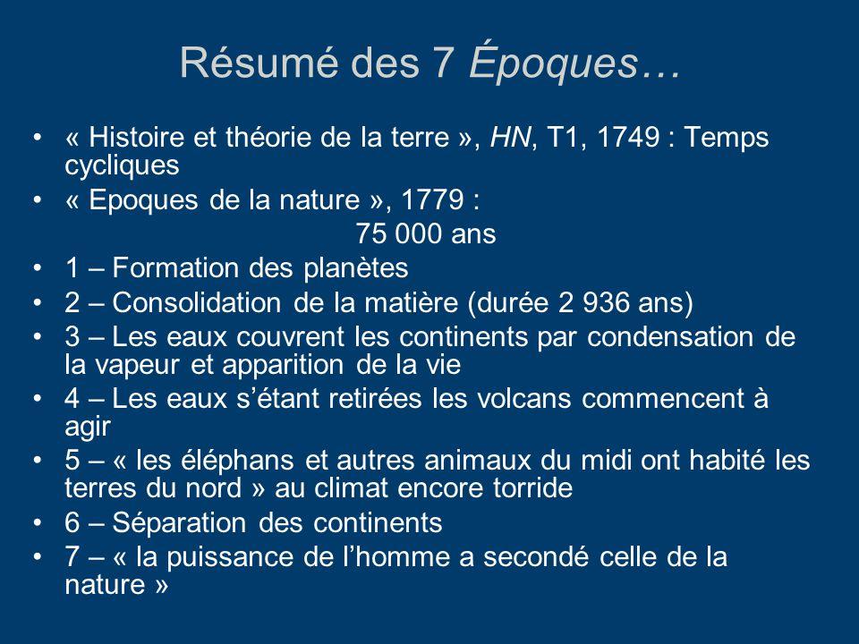 Résumé des 7 Époques… « Histoire et théorie de la terre », HN, T1, 1749 : Temps cycliques « Epoques de la nature », 1779 : 75 000 ans 1 – Formation de