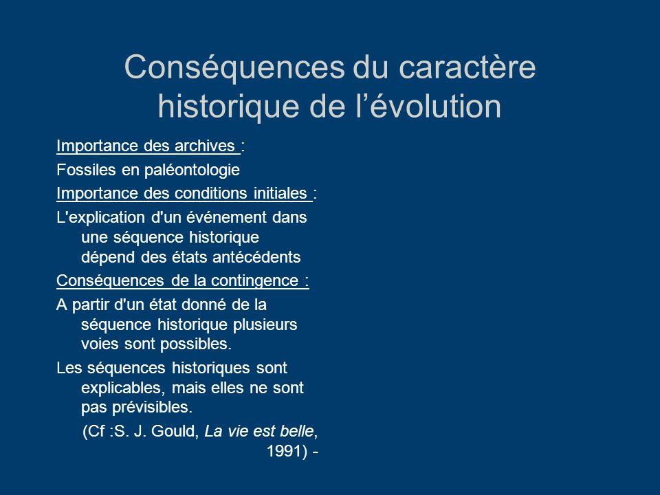 Conséquences du caractère historique de lévolution Importance des archives : Fossiles en paléontologie Importance des conditions initiales : L'explica