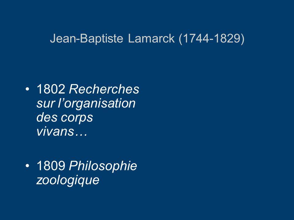 Jean-Baptiste Lamarck (1744-1829) 1802 Recherches sur lorganisation des corps vivans… 1809 Philosophie zoologique