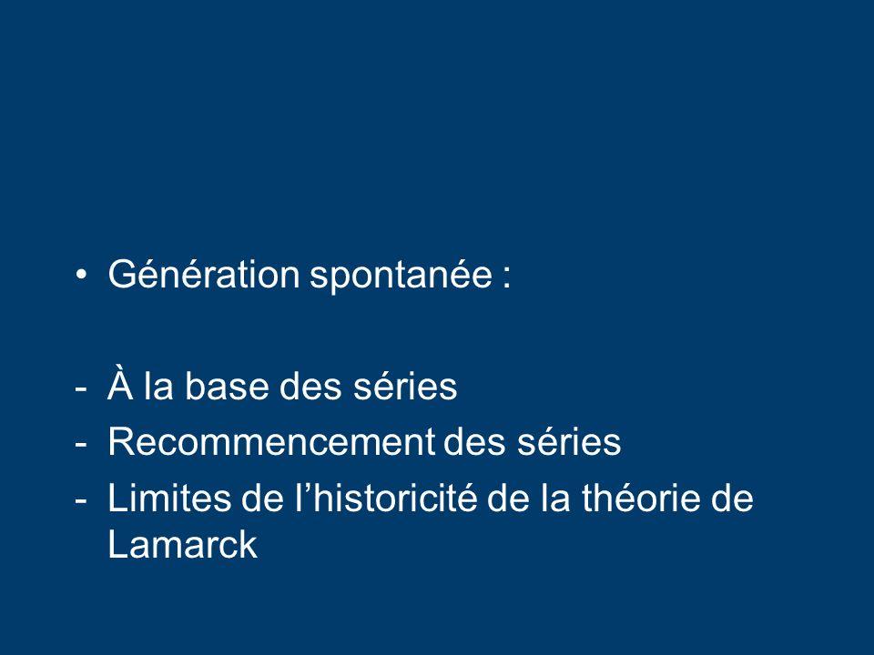 Génération spontanée : -À la base des séries -Recommencement des séries -Limites de lhistoricité de la théorie de Lamarck