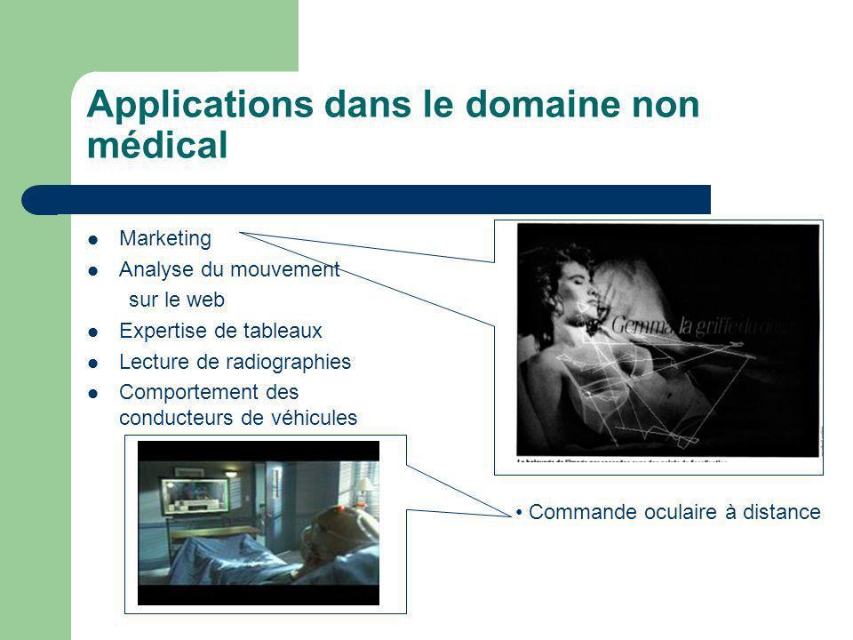 Applications dans le domaine non médical Marketing Analyse du mouvement sur le web Expertise de tableaux Lecture de radiographies Comportement des con