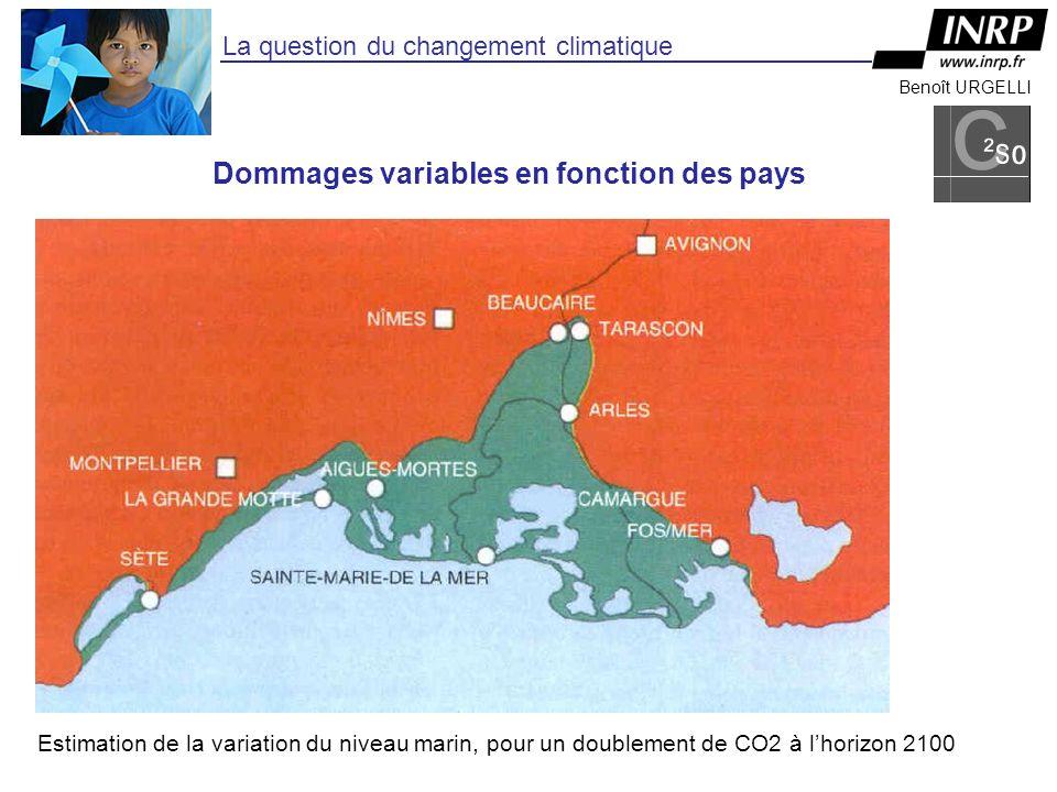 Benoît URGELLI La question du changement climatique Estimation de la variation du niveau marin, pour un doublement de CO2 à lhorizon 2100 Dommages variables en fonction des pays
