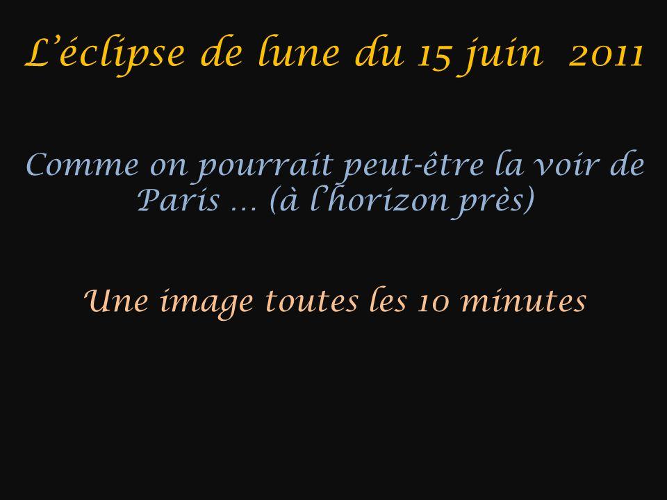 Léclipse de lune du 15 juin 2011 Comme on pourrait peut-être la voir de Paris … (à lhorizon près) Une image toutes les 10 minutes