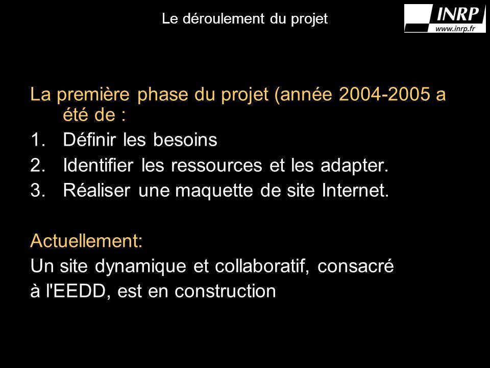 Le déroulement du projet La première phase du projet (année 2004-2005 a été de : 1.Définir les besoins 2.Identifier les ressources et les adapter.