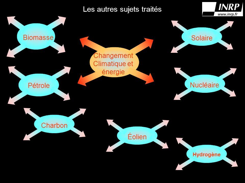 Les autres sujets traités Biomasse Pétrole CharbonÉolien Hydrogène NucléaireSolaire Changement Climatique et énergie